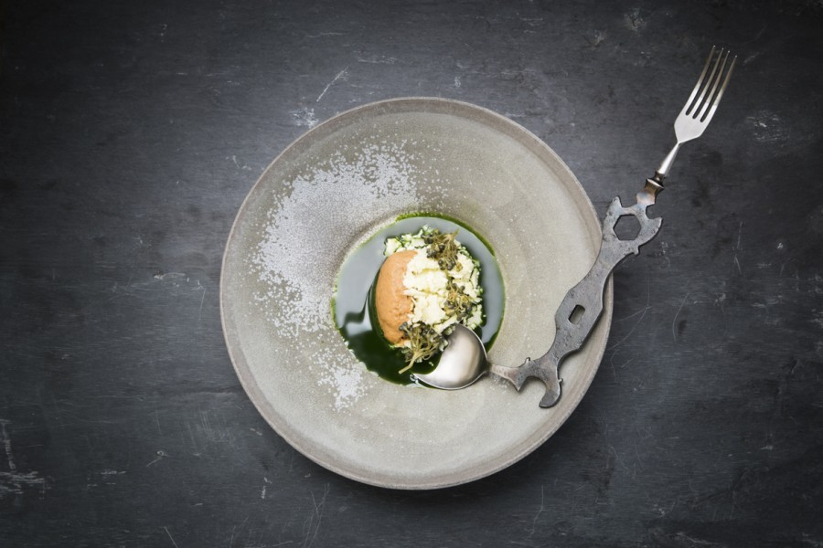 Cauliflower and wild garlic served on a plate by Dirk Aleksic with a 'Bike Key' spoon fork by Nils Hint.
