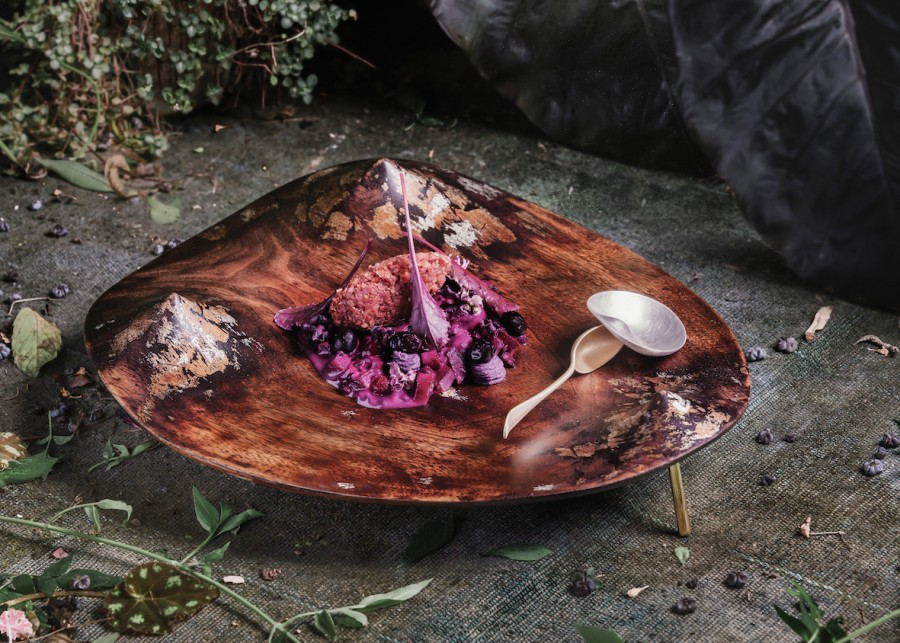 Beetroot Mountain-Lentil Curry, Red Orach Chutney and Juniper Falafel served on a moment plate and a moment spoon by Joo Hyung Park.