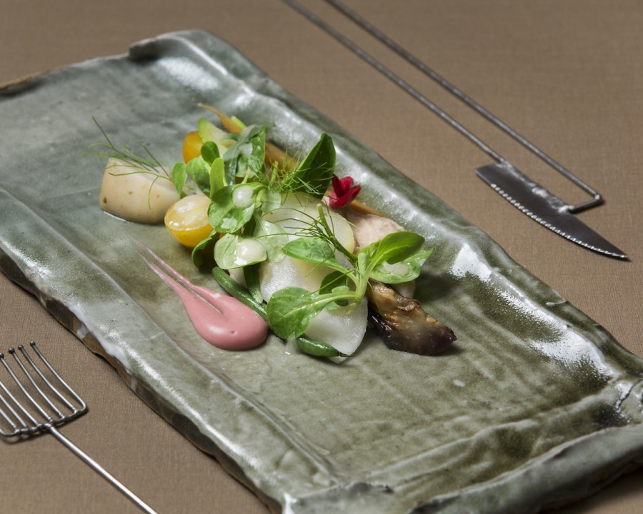 Kitchen Garden Vegetables from the 'Zuidas' from chef Luc Kusters (Bolenius) served on a ceramic block plate by Cathrine Sanke and Annegret Streu with cutlery by Nils Hint.