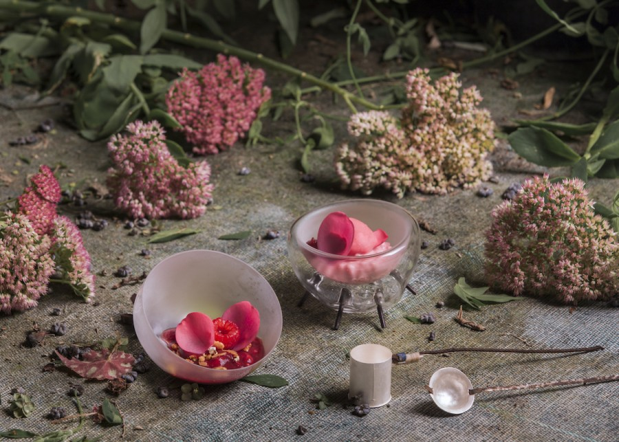 Raspberry Hibiscus Sorbet, Almond Milk Cream and Thyme Brittle served in handblown glass vessels by Federica Sala and with silver steel spoons by Stuart Cairns.