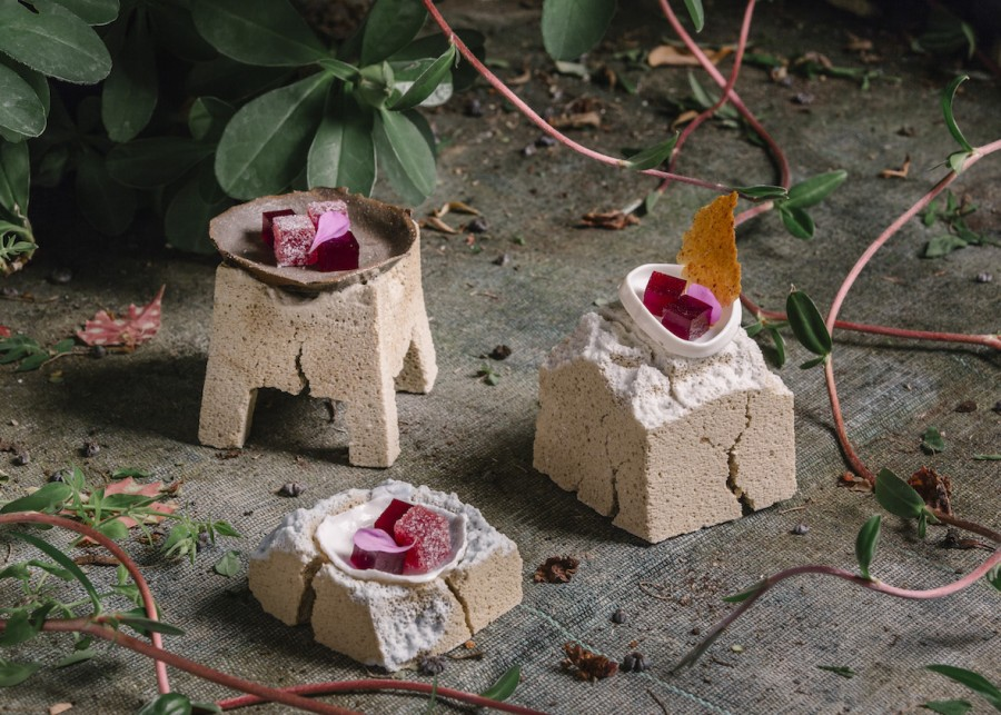 Physalis, Cherry, Raspberry and Red Currant Petit Fours served on porous concrete ceramic plates by Felicia Mülbaier. Photography by Caroline Prange.