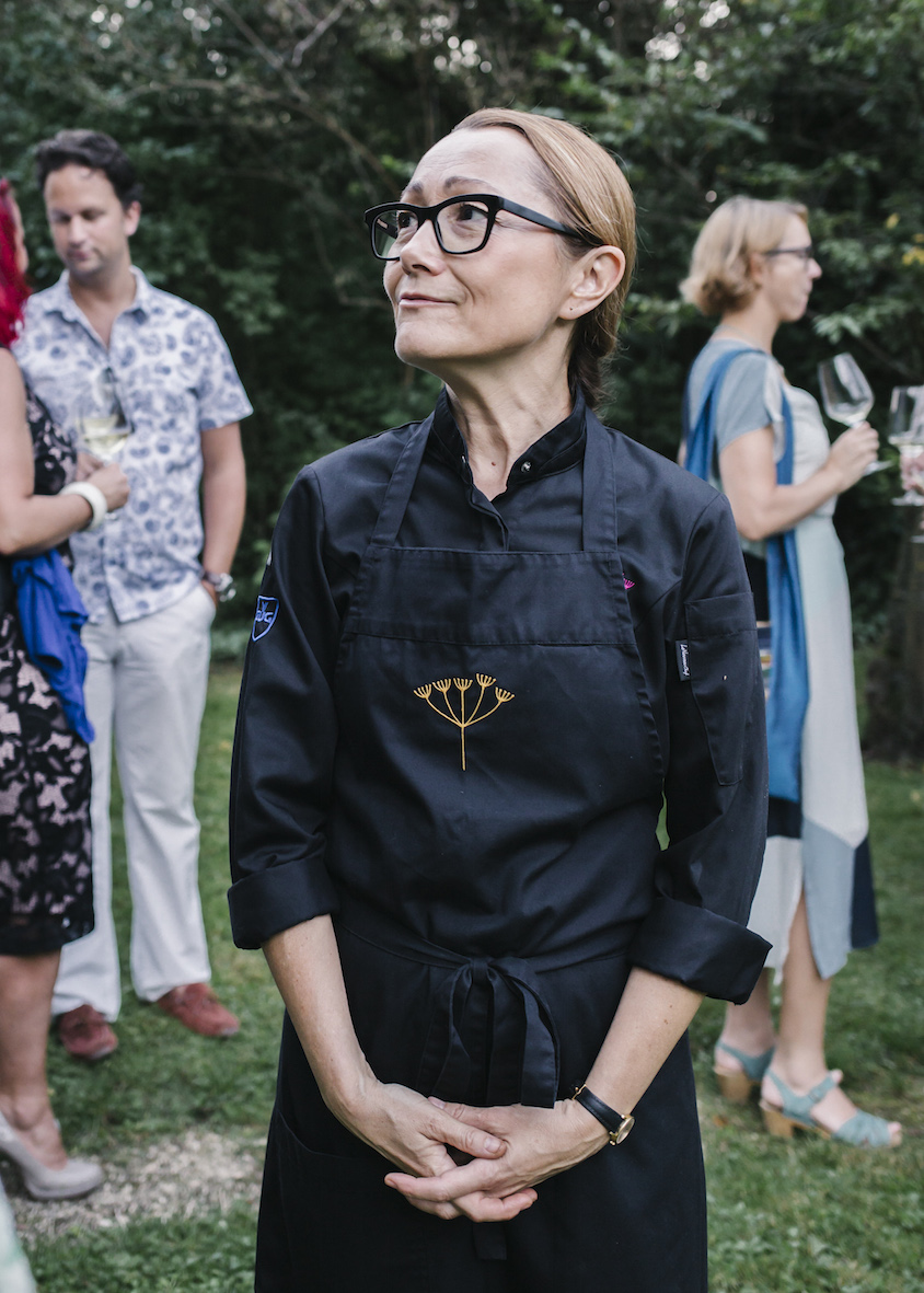 Chef Tanja Grandits during Steinbeisser's Experimental Gastronomy at the Merian Gärten in Basel.