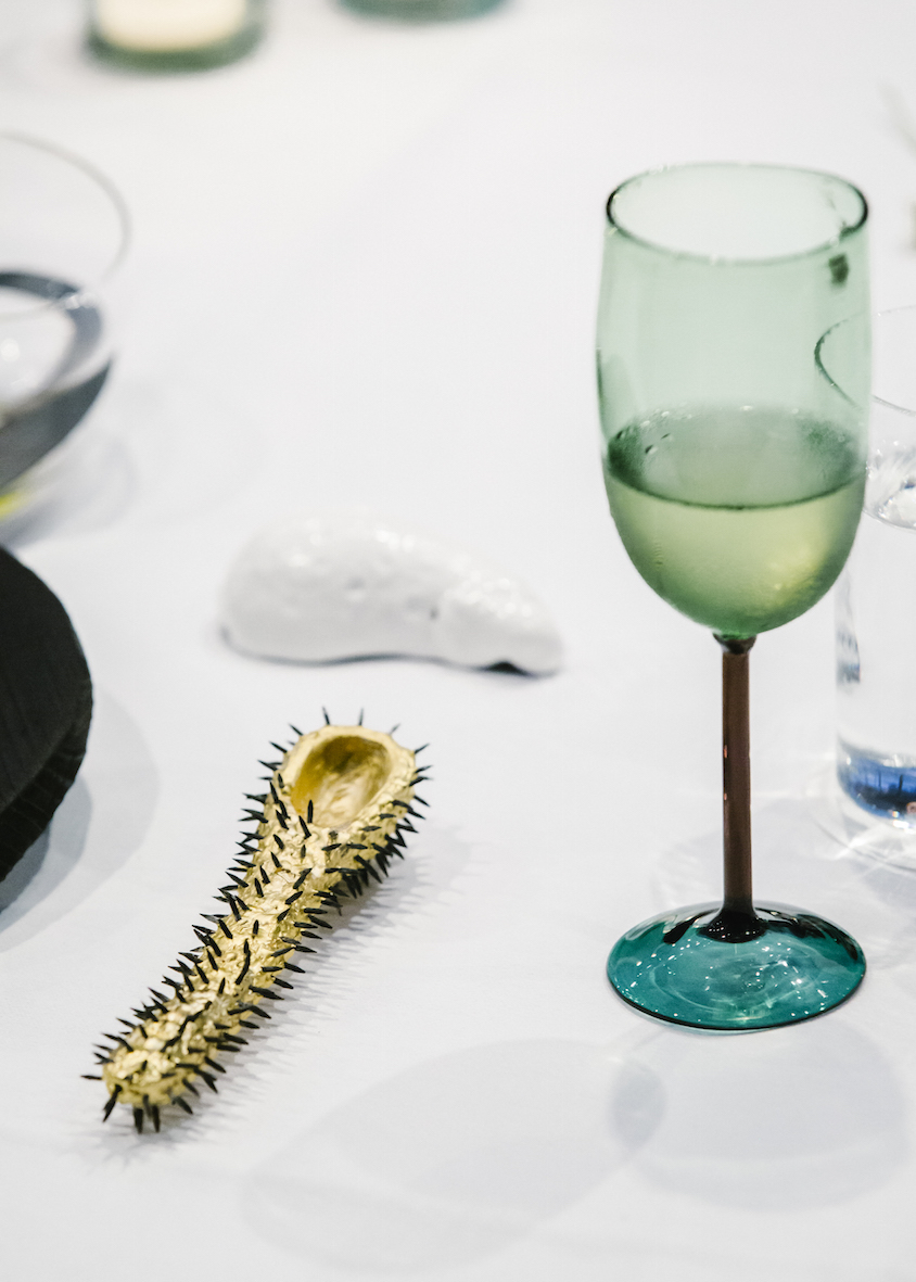 The 'Gold Thorn' spoon by Gabi Veit and a handblown wine glass by Jochen Holz.