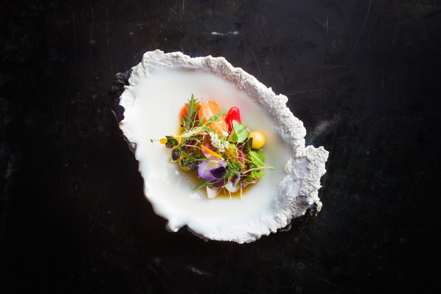 Ceviche of fruits and vegetables with flowers from David Kinch (Manresa) served on a 'Landscape' plate by Erica Iman.