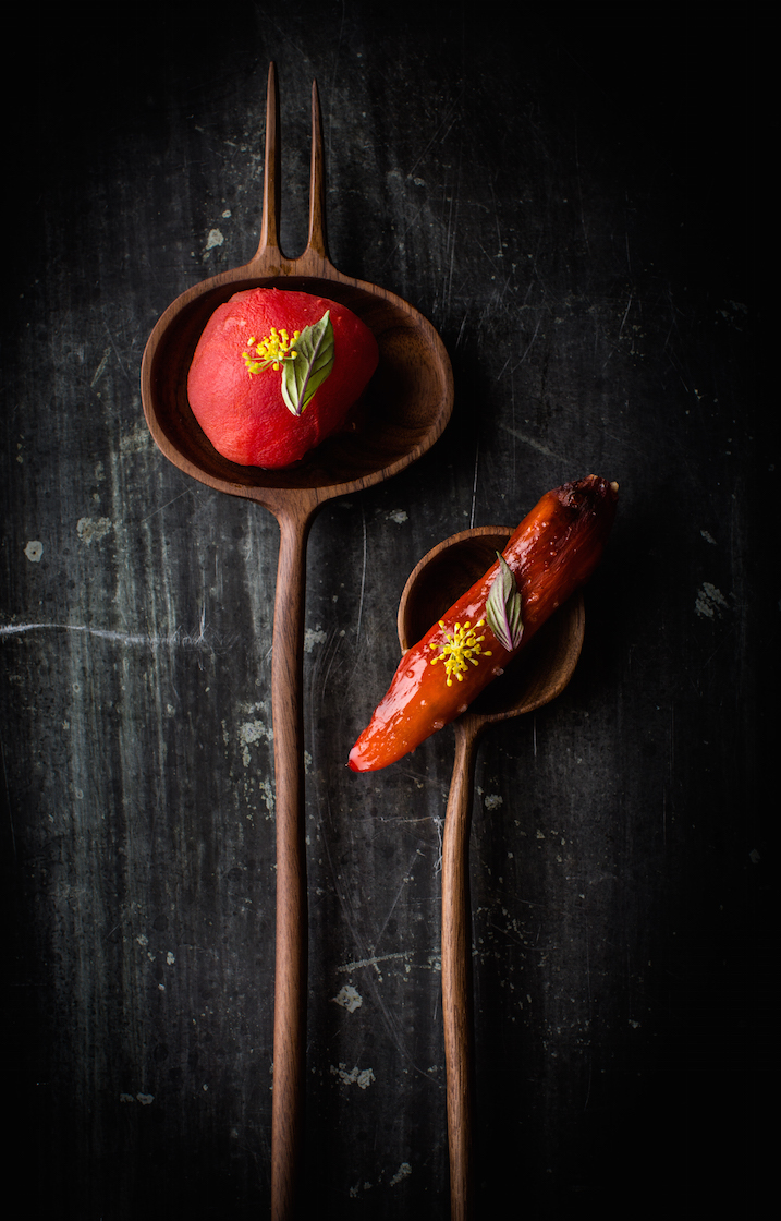 """Petit Farcis"" pepper and tomato from David Kinch (Manresa) served on a sculptured walnut spoon by Julian Watts."