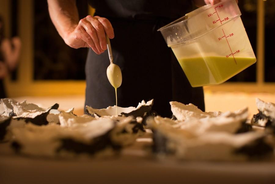 Daniel Patterson (Coi) setting cabbage, potato, chanterelles, walnut and lovage in 'Landscape' plates by Erica Iman.