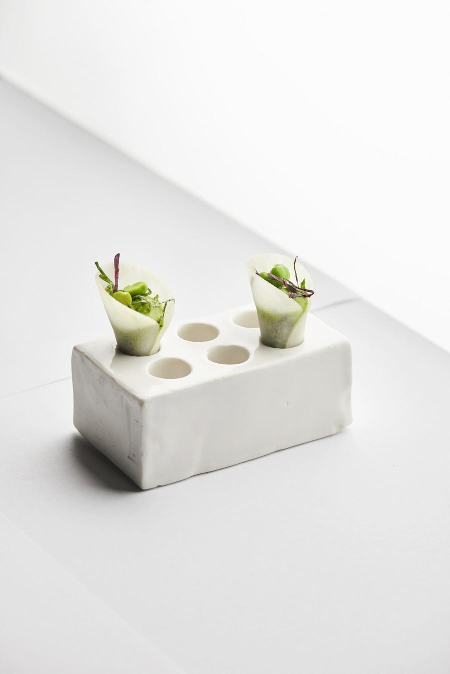 Kohlrabi, peas and shizo. Photography by Fabian Häfeli.
