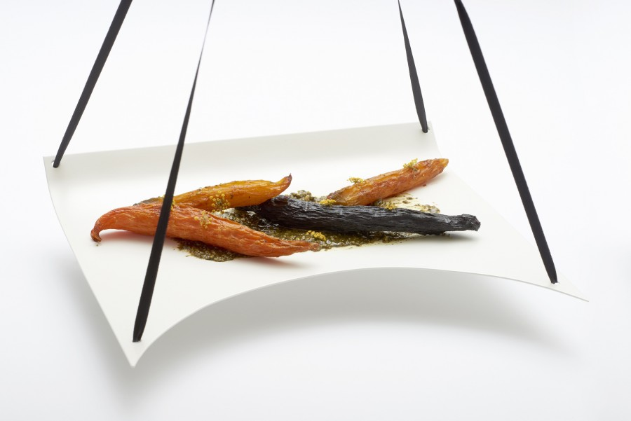 Carrot, pumpkin seeds and fennel pods from Daniel Burns (Luksus) served on a 'White Bib' plate by Kathleen Reilly.