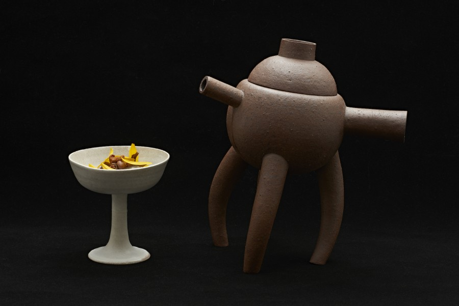 'Forest' from Daniel Burns (Luksus) served on a clay chalice by Gabriela Jimenez Falch and a 'Broth Pot' by Tono Perez.