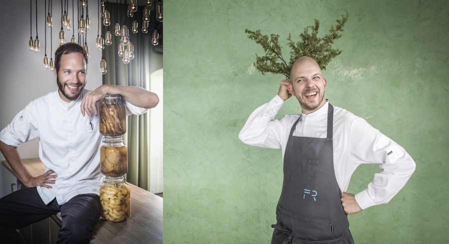 Chef Simon Apothéloz from restaurant Eisblume and Chef Fabian Raffeiner from restaurant Meridiano (both awarded 1 Michelin star)