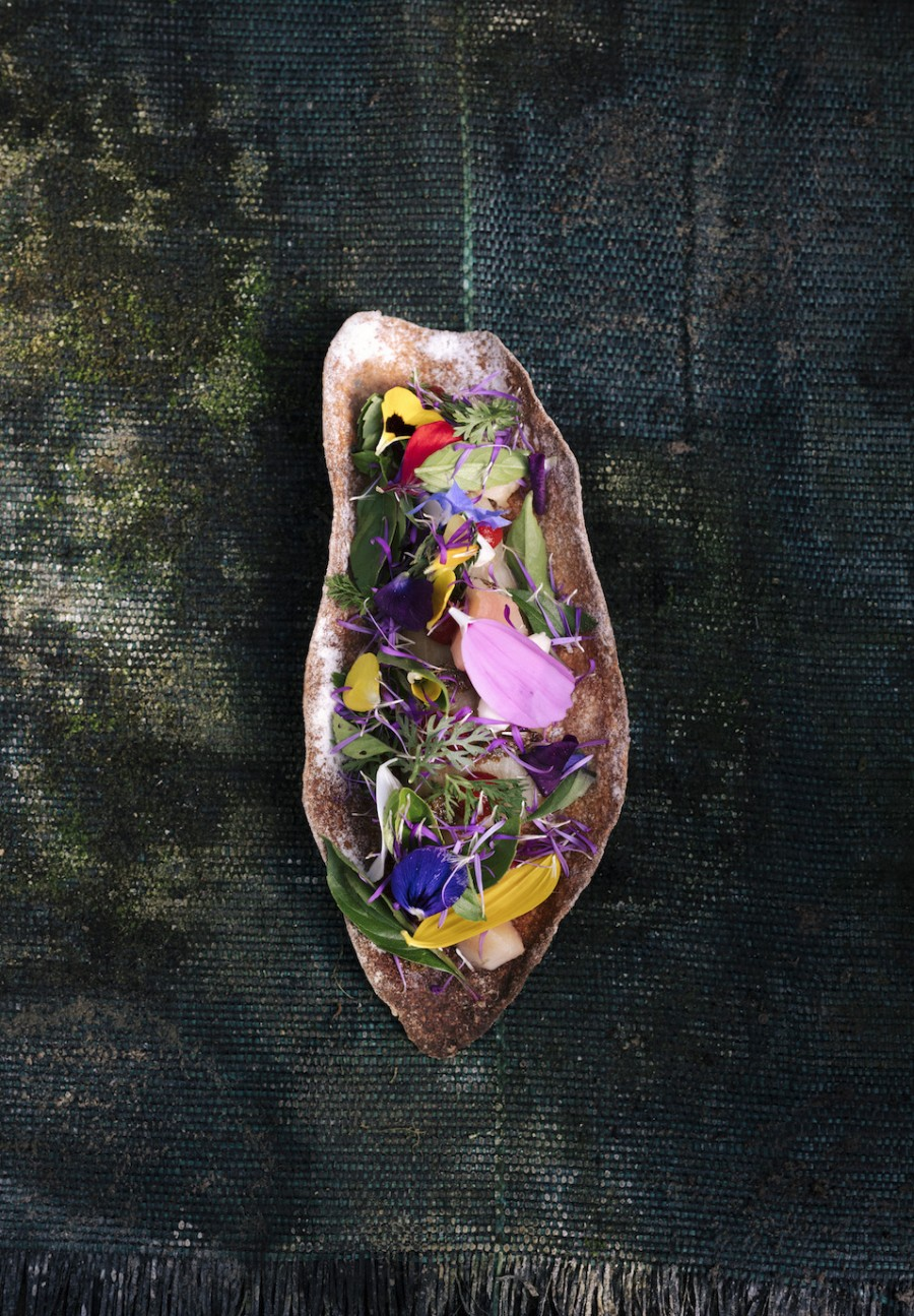 eggplant shichimi, flower leaves and sourdough cracker